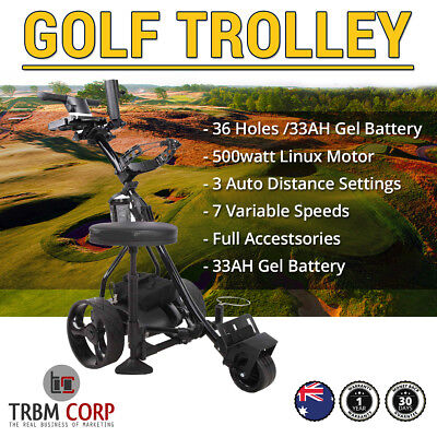 Electric Golf Buggy Trolley Folding Digital 36 Hole 33AH Battery All Accessories