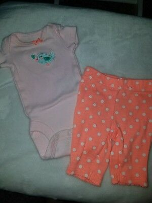 Carter's Baby Girl Preemie outfit one piece w matching polka dot pants