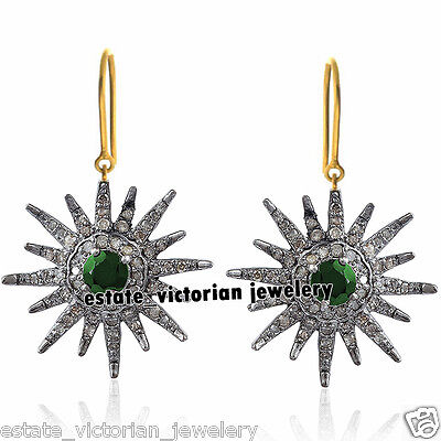 Retro Vintage 2.02Cts Rose Cut Diamond Sterling Silver Emerald Earring Jewelry