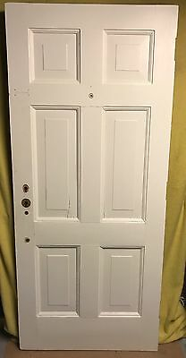 UNIQUE ANTIQUE 6 PANEL WOOD EXTERIOR DOOR 34x78 ARCHITECTURAL SALVAGE