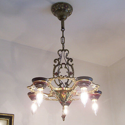 134b Vintage10s 20s Ceiling Light lamp fixture polychrome chandelier art nouveau