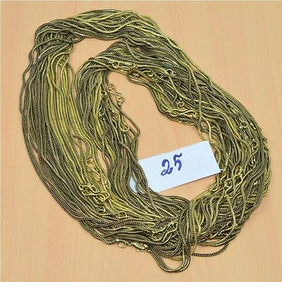 WHOLESALE 25PC SOLID BRASS PLAIN CHAIN NECKLACE JEWELRY LOT L- 30 (248.8g.)