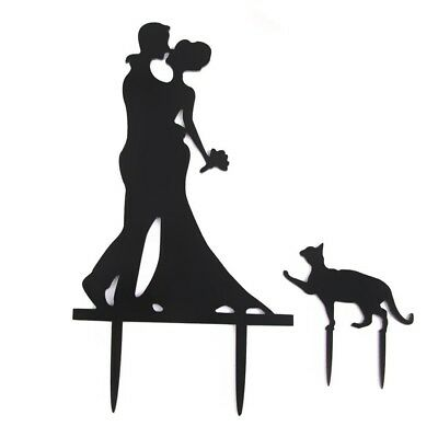 Wedding Topper Cake Decorations Bride & Groom with Cat Acrylic Cake cover H M2J0
