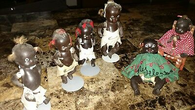 Vintage lot of6 African AmericanBisque Black Baby Dolls Jointed Americana JAPAN