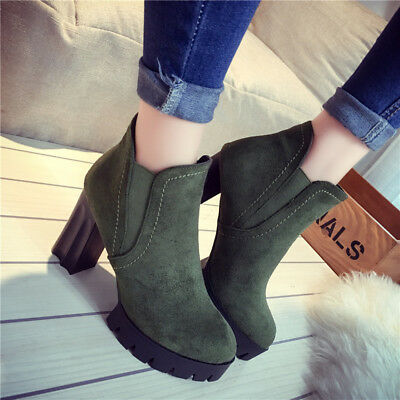 98ec6a3d30f Women s Ankle Boots Suede Warm Short Tube Shoes Block Heel Femal Boots  Winter