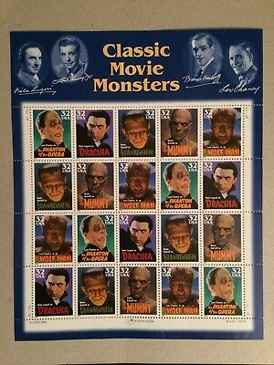 Vintage Mint Universal Monster Postage Stamp Sheet USPS KARLOFF LUGOSI CHANEY