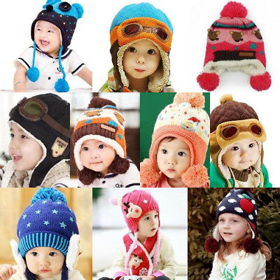 Baby Winter Warm Toddlers Pilot Aviator Style Ear-flap Hat For Unisex