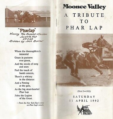 1992 Tribute to PHAR LAP Racebook
