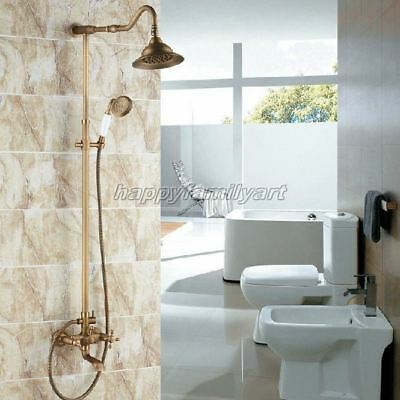 Antique Brass Bathroom Rain Shower Faucet Set Dual Handles Tub Mixer Tap yrs100