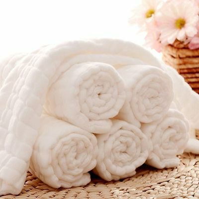 White 10 Layers Washable Cloth Cotton Baby Inserts Nappy Liners Diapers Reusable