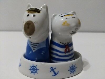 SALT AND PEPPER SHAKERS - sailor Cat & Dog with tray - Ceramic