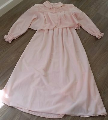 Vintage 50s Prestige 2pce BABY PINK Hollywood Glam NIGHT GOWN BED JACKET size 6