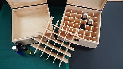 Essential Oil Wooden Box - 36 Slots Fits Tall Roller Bottles. Natural Pine Wood