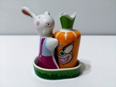 SALT AND PEPPER SHAKERS - Bunny & Carrot with Tray - Ceramic