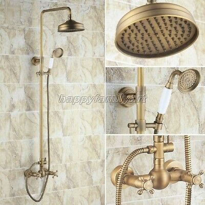 Antique Brass Bathroom Rainfall Shower Faucet Set Dual Handles Mixer Tap yrs107