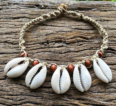Hand Made Hemp Shell Anklet with Cowrie Shells With Timber Beads