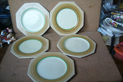 Set Of 5 Octagonal Side Plates By Royal Staffordshire