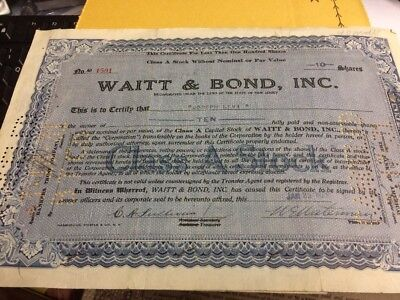 Vintage - Waitt & Bond Inc -  Stock Certificate - 1929 - With Stamps