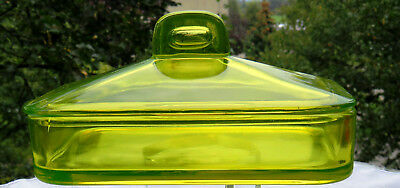 Antique Rectangular lidded Vaseline Dish – Canary Yellow-Almost Glows without UV