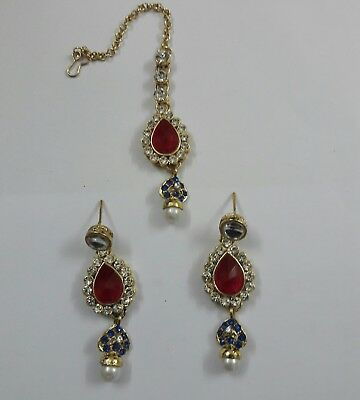New Indian Bollywood Fashion Ethnic Gold Tone Earrings Auction Start From £ 2.99