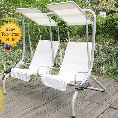 2 Seater Swinging Swing Chair Garden Patio Hammock with Cushion Canopy Outdoor
