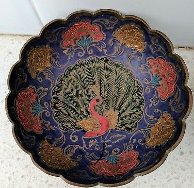 Vintage_Indian, PEACOCK, Scalloped Brass Trinket, Lolly Dish