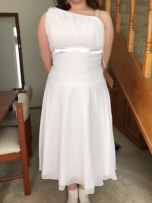 White formal dress - one shoulder, tea length, size 14