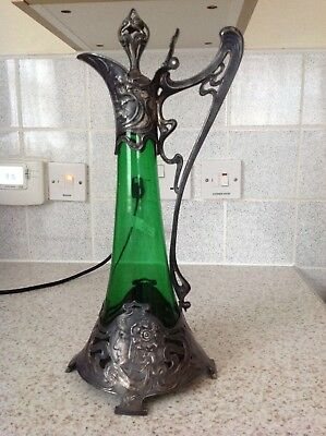 Rare WMF Art Nouveau Green Decanter with Ostrich Stamp. Authentic.