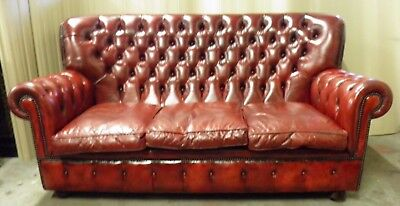 Vintage Oxblood Leather Chesterfield High Back Monks Settee