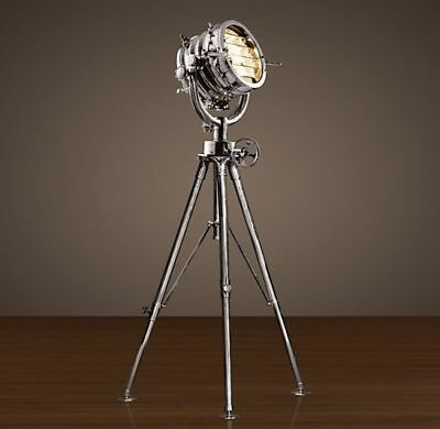 Vintage Industrial Chrome Nautical Spot Search Light Tripod Stand - Floor Lamp