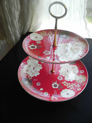 "Maxwell & Williams ""Kimono"" 2 tier Serving Plate Red Christmas"