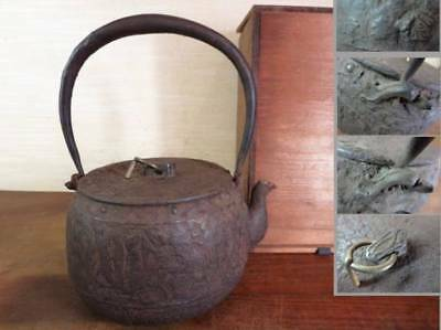 Japanese Iron Tea Kettle Tetsubin teapot Kisuzudo Iron lid old Iron bottle With