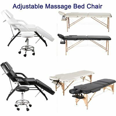 Portable 2/3 Folding Massage Bed Facial Beauty Barber Chair Couch Bed Stool DE