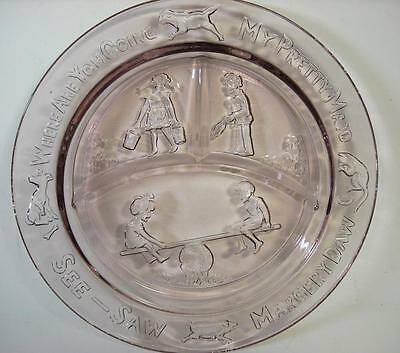Amethyst Glass Child's Divided Plate See Saw Marjory Daw 8 1/2""