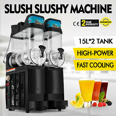 Slush Making Machine Frozen Drink Slushy Smoothie Maker 30L/H Commercial 2 Tank