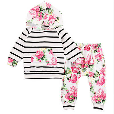 0-18M Newborn Baby Kids Girls Clothes Floral Hooded Tops&Long Pants Outfits UK