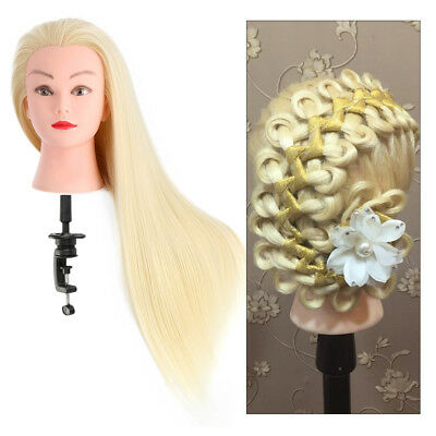 """24"""" White Salon Hairdressing Training 30% Real Human Hair Mannequin Doll + Clamp"""