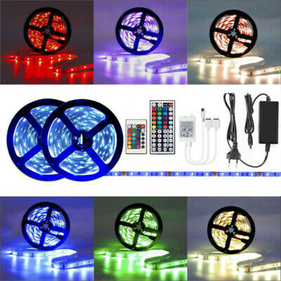 1-30M SMD 5050 RGB LED Strip Light Flexible Lighting +12V IR Controller Adapter