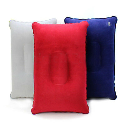 Double Sided Air Inflatable Pillow Cushion Pad Travel Sleep Support Soft N2 V6P4