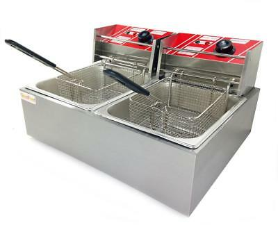 Commercial 12L Deep Fryer Pan Electric GoodFood EF6+6