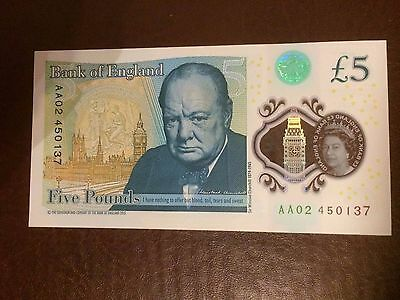 Coins 5 Pound New Bank Of England Uk New Polymer Five Pound Note Aa02....