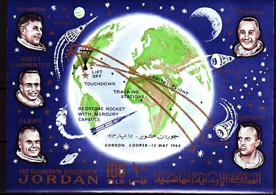 Jordanien Jordan 1964 ** Bl.10 Weltraum Space with overprint Gordon Cooper