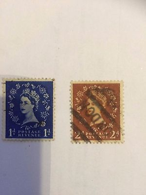 old 2 stamps Queen Elizabeth II 1956 made in England