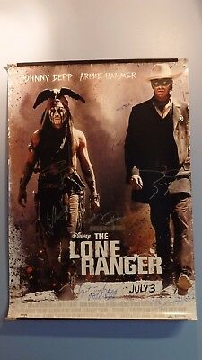 The Lone Ranger  Ds Movie Poster Cast Signed Johnny Depp, Armie Hammer...