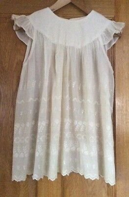 Antique Young Girls's Cotton Lace Smpcl Dress