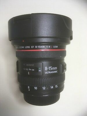 Canon EF 8-15mm F/4.0 L EF USM Lens top condition takes great fisheye photos.