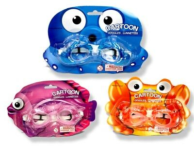 Cartoon Swimming Goggles x 3 pairs - for kids over 3 years - fun designs