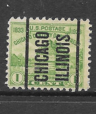 US Post Stamp 1 cent, Green, 1933, Fort Dearborn, SC#728 Precancel, Chicago.