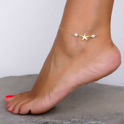 Women Starfish Anklet Ankle Bracelet Faux Pearl Sandals Foot Chain Jewelry N1