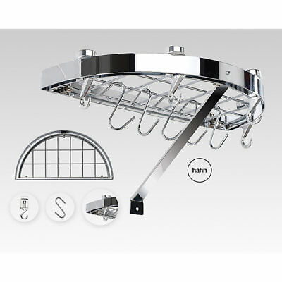 Hahn 40804 Half-Round Chrome-plated Steel Wall Rack for Utensils & Pans